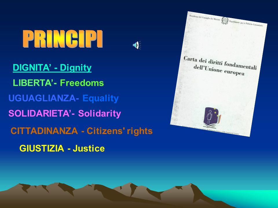 DIGNITA - Dignity LIBERTA- Freedoms UGUAGLIANZA- Equality SOLIDARIETA- Solidarity CITTADINANZA - Citizens rights GIUSTIZIA - Justice
