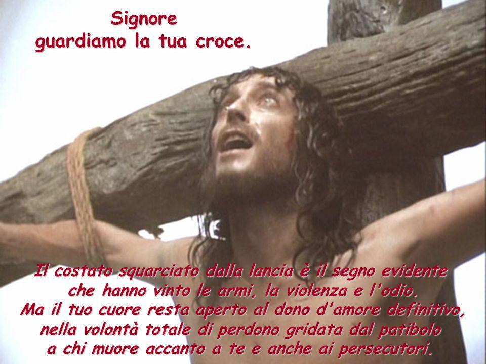 Signore guardiamo la tua croce. Il costato squarciato dalla lancia è il segno evidente che hanno vinto le armi, la violenza e l'odio. Ma il tuo cuore