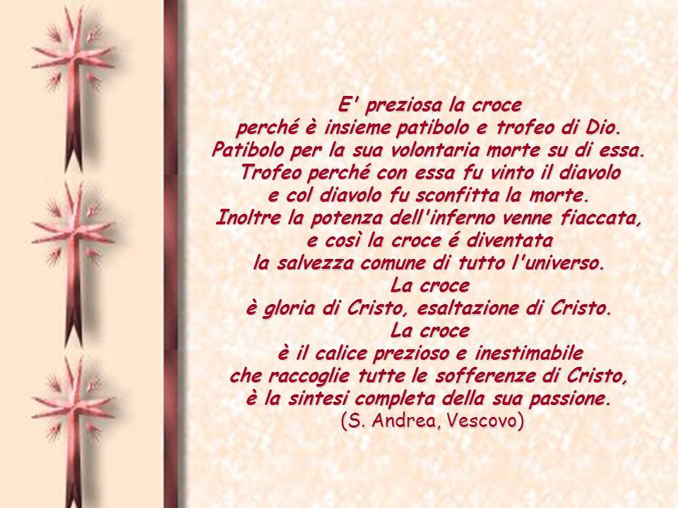E preziosa la croce perché è insieme patibolo e trofeo di Dio.