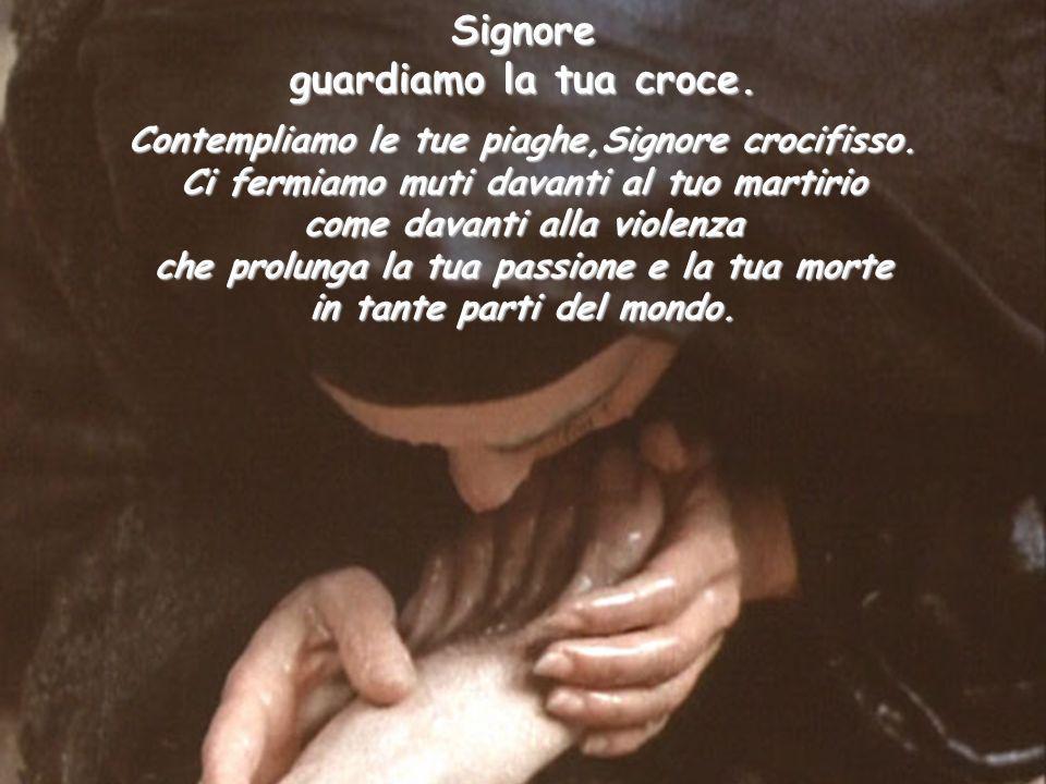 Signore Contempliamo le tue piaghe,Signore crocifisso. Ci fermiamo muti davanti al tuo martirio come davanti alla violenza che prolunga la tua passion