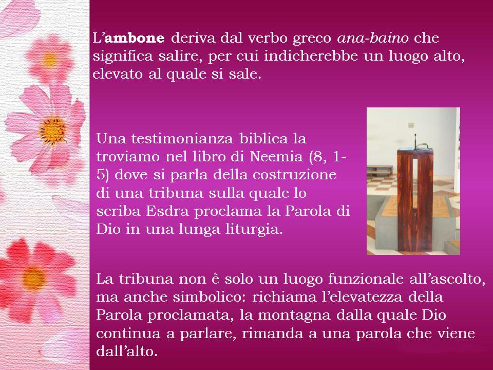 L ambone deriva dal verbo greco ana-baino che significa salire, per cui indicherebbe un luogo alto, elevato al quale si sale.
