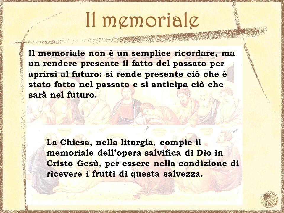 Il memoriale Il memoriale non è un semplice ricordare, ma un rendere presente il fatto del passato per aprirsi al futuro: si rende presente ciò che è