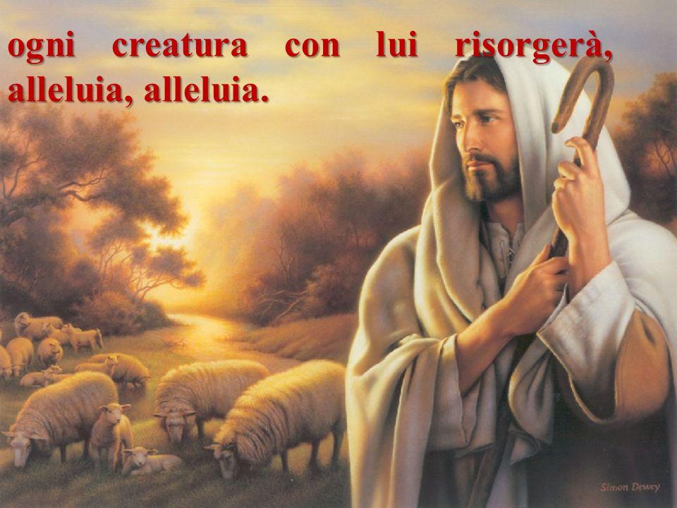 ogni creatura con lui risorgerà, alleluia, alleluia.