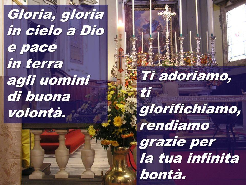 Gloria, gloria in cielo a Dio e pace in terra agli uomini di buona volontà.