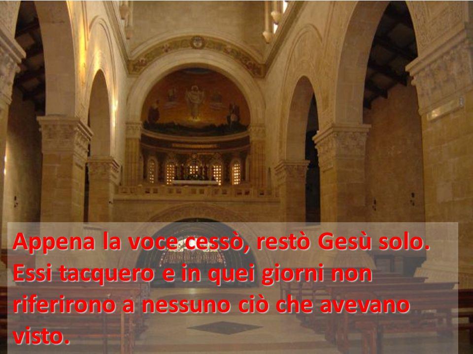 Appena la voce cessò, restò Gesù solo. Essi tacquero e in quei giorni non riferirono a nessuno ciò che avevano visto.