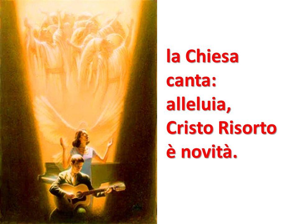 Cristo è risorto veramente alleluia.Gesù, il vivente, qui con noi resterà.
