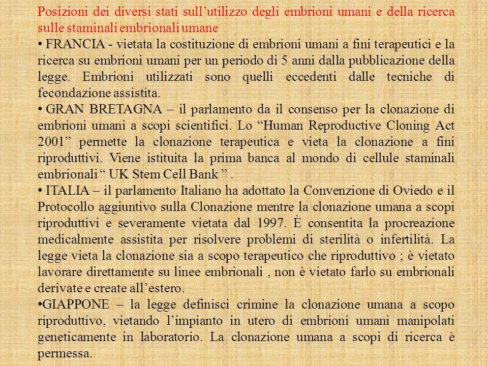 Posizioni dei diversi stati sullutilizzo degli embrioni umani e della ricerca sulle staminali embrionali umane FRANCIA - vietata la costituzione di embrioni umani a fini terapeutici e la ricerca su embrioni umani per un periodo di 5 anni dalla pubblicazione della legge.