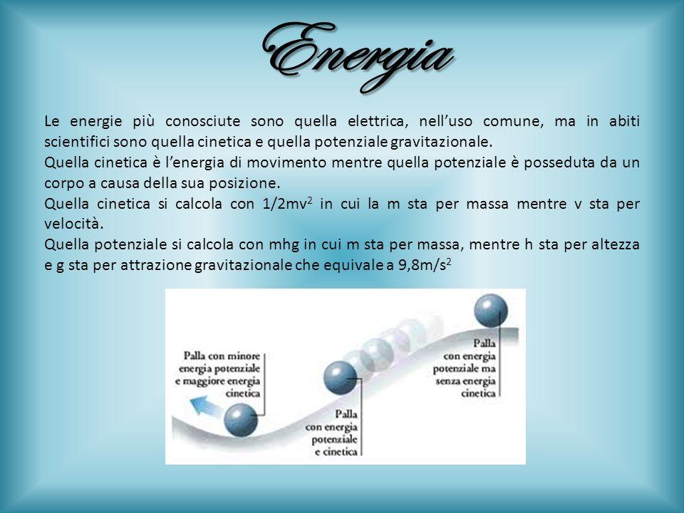 Energia Le energie più conosciute sono quella elettrica, nelluso comune, ma in abiti scientifici sono quella cinetica e quella potenziale gravitaziona