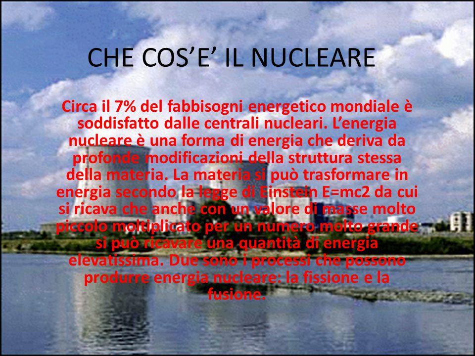 FISSIONE NUCLEARE Il processo utilizzato dalle centrali nucleari è la fissione nucleare che consiste nella scissione del nucleo di un atomo in due parti che sommate non raggiungono la massa originaria poiché la massa mancante si è trasformata in energia in forma di calore secondo la legge E = mc2.