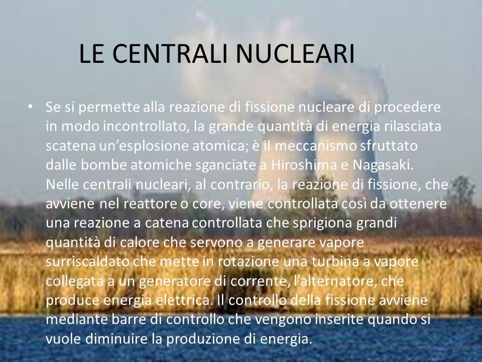 LE CENTRALI NUCLEARI Se si permette alla reazione di fissione nucleare di procedere in modo incontrollato, la grande quantità di energia rilasciata scatena unesplosione atomica; è il meccanismo sfruttato dalle bombe atomiche sganciate a Hiroshima e Nagasaki.