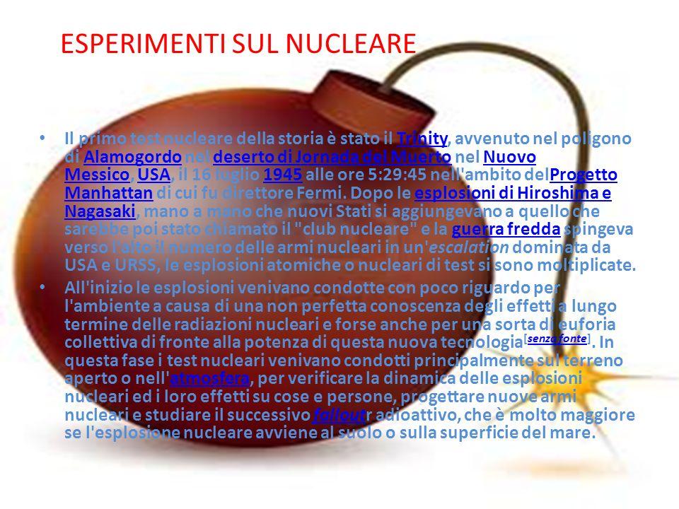Il primo test nucleare della storia è stato il Trinity, avvenuto nel poligono di Alamogordo nel deserto di Jornada del Muerto nel Nuovo Messico, USA,