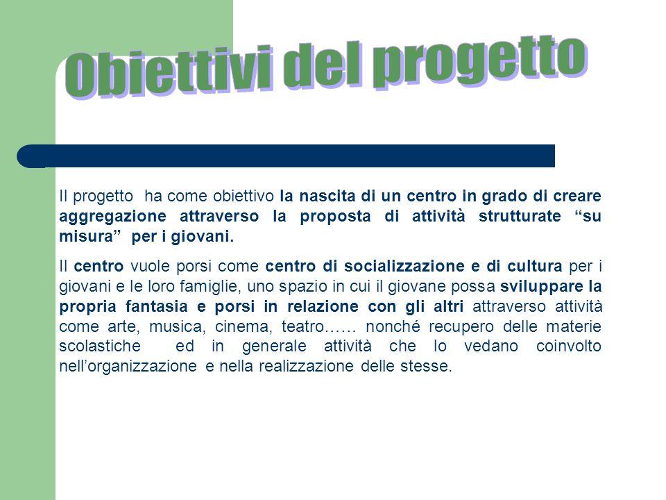 Il progetto ha come obiettivo la nascita di un centro in grado di creare aggregazione attraverso la proposta di attività strutturate su misura per i g