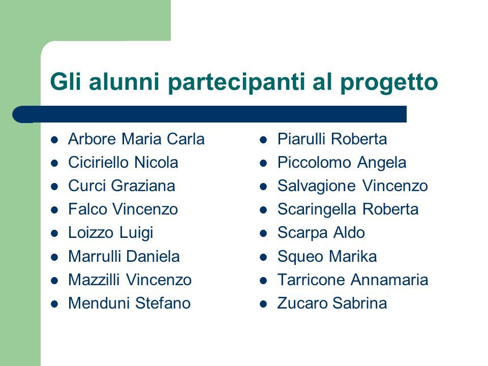 Gli alunni partecipanti al progetto Arbore Maria Carla Ciciriello Nicola Curci Graziana Falco Vincenzo Loizzo Luigi Marrulli Daniela Mazzilli Vincenzo