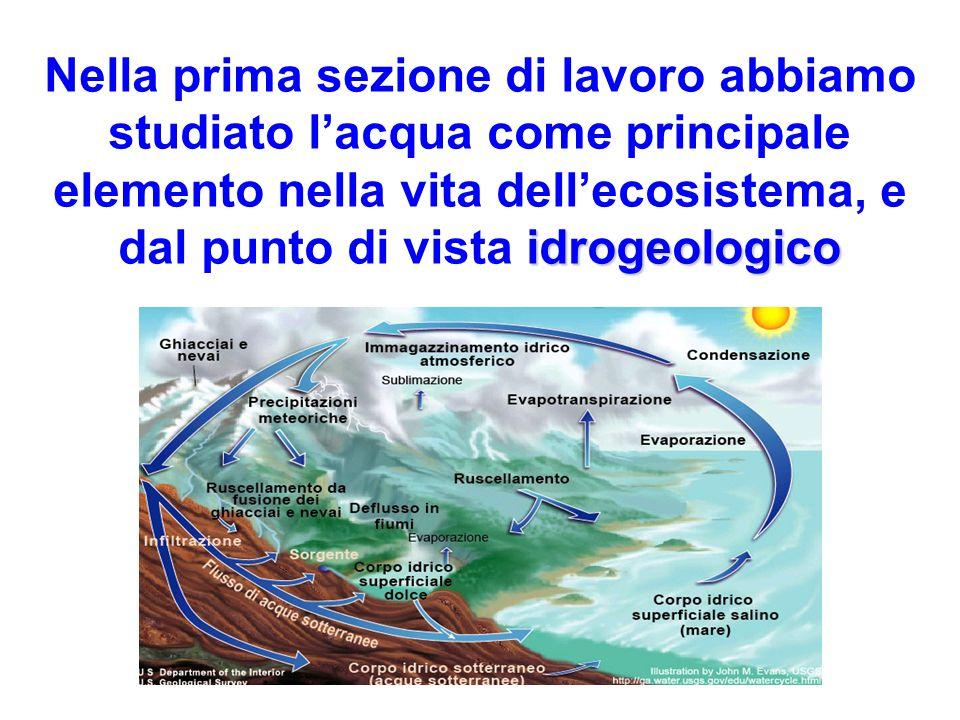 idrogeologico Nella prima sezione di lavoro abbiamo studiato lacqua come principale elemento nella vita dellecosistema, e dal punto di vista idrogeolo
