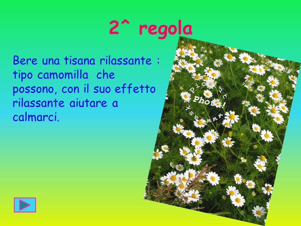 2^ regola Bere una tisana rilassante : tipo camomilla che possono, con il suo effetto rilassante aiutare a calmarci.