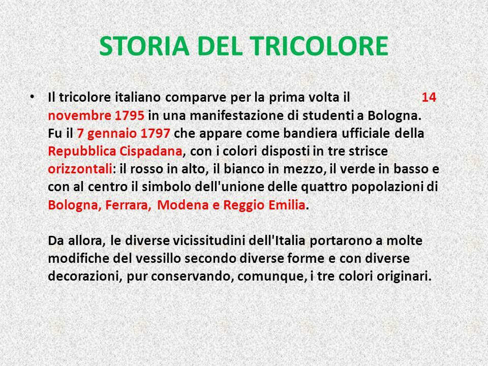 STORIA DEL TRICOLORE Il tricolore italiano comparve per la prima volta il 14 novembre 1795 in una manifestazione di studenti a Bologna.
