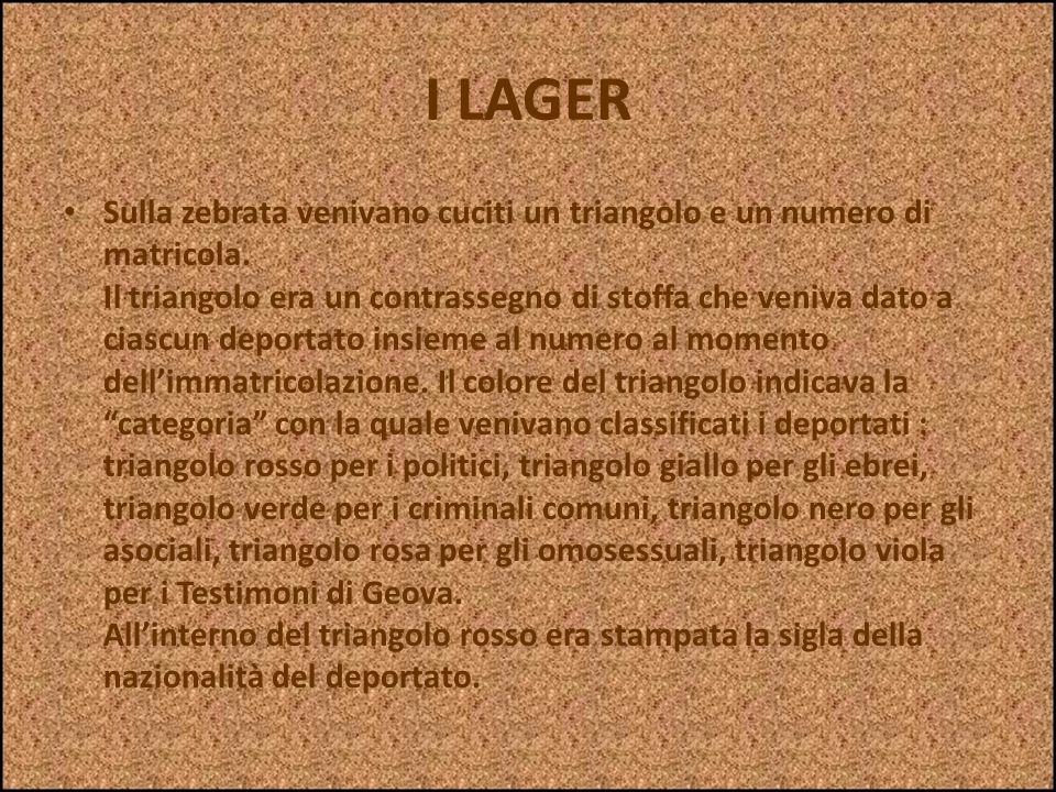 I LAGER Nei Lager tutti i prigionieri, compresi i bambini, venivano privati dei loro abiti e obbligati ad indossare la zebrata, cioè una casacca e un
