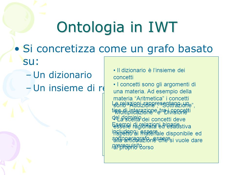 Ontologia in IWT Si concretizza come un grafo basato su: –Un dizionario –Un insieme di relazioni Il dizionario è linsieme dei concetti I concetti sono gli argomenti di una materia.