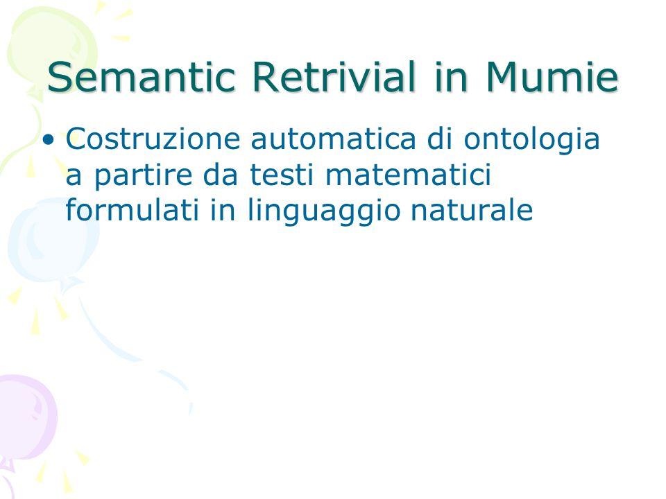 Semantic Retrivial in Mumie Costruzione automatica di ontologia a partire da testi matematici formulati in linguaggio naturale