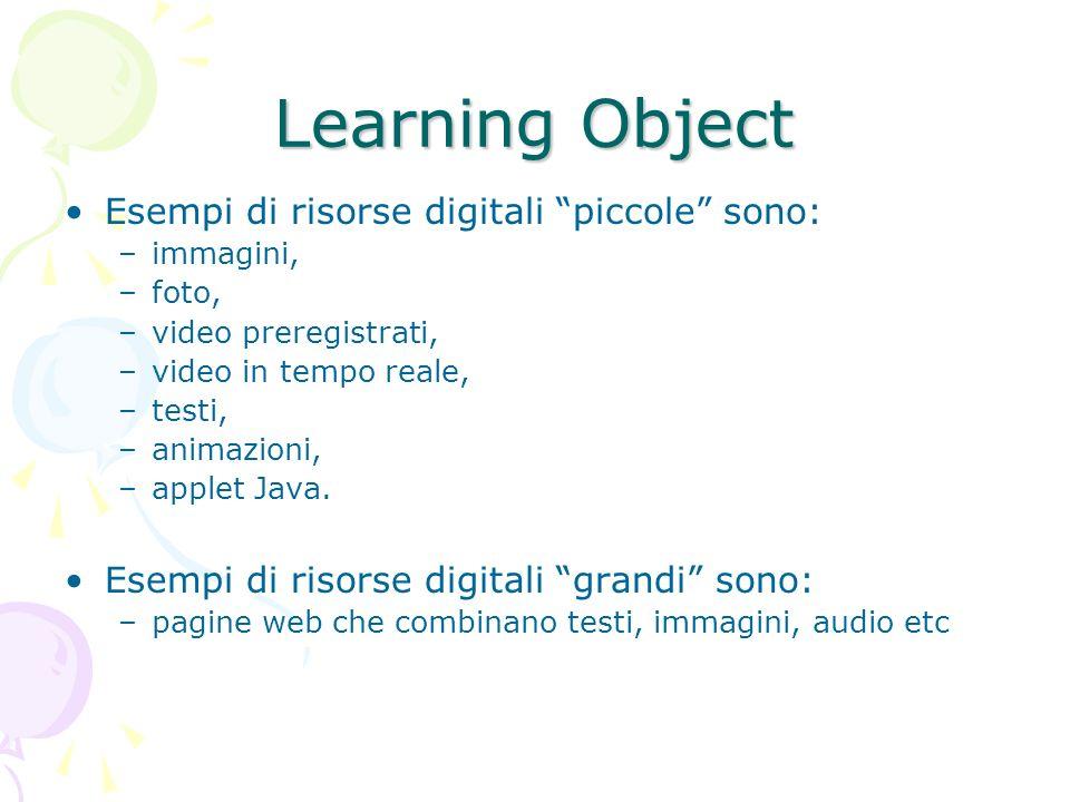 Learning Object Esempi di risorse digitali piccole sono: –immagini, –foto, –video preregistrati, –video in tempo reale, –testi, –animazioni, –applet Java.