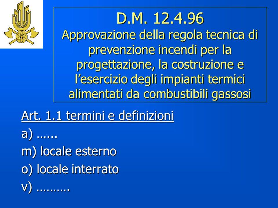 D.M. 12.4.96 Approvazione della regola tecnica di prevenzione incendi per la progettazione, la costruzione e lesercizio degli impianti termici aliment