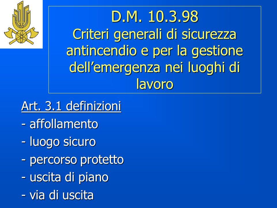 D.M. 10.3.98 Criteri generali di sicurezza antincendio e per la gestione dellemergenza nei luoghi di lavoro Art. 3.1 definizioni - affollamento - luog