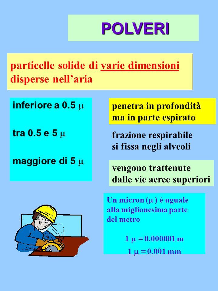 particelle solide di varie dimensioni disperse nellaria inferiore a 0.5 tra 0.5 e 5 maggiore di 5 penetra in profondità ma in parte espirato frazione
