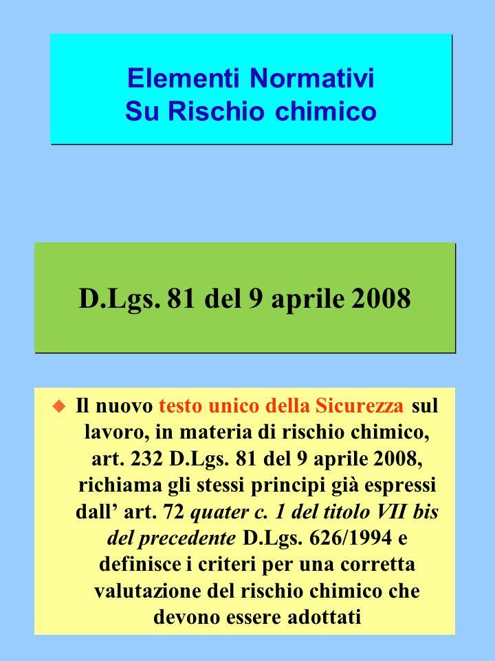D.Lgs. 81 del 9 aprile 2008 u Il nuovo testo unico della Sicurezza sul lavoro, in materia di rischio chimico, art. 232 D.Lgs. 81 del 9 aprile 2008, ri