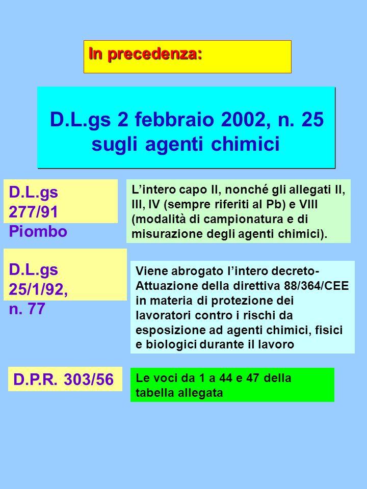D.L.gs 2 febbraio 2002, n. 25 sugli agenti chimici In precedenza: D.L.gs 277/91 Piombo Lintero capo II, nonché gli allegati II, III, IV (sempre riferi