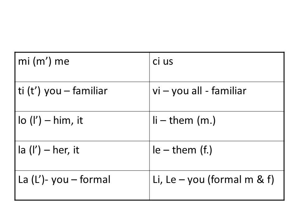 mi (m) meci us ti (t) you – familiarvi – you all - familiar lo (l) – him, itli – them (m.) la (l) – her, itle – them (f.) La (L)- you – formalLi, Le – you (formal m & f)