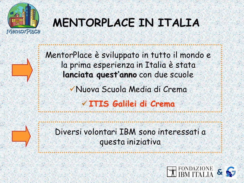 MENTORPLACE IN ITALIA lanciata questanno MentorPlace è sviluppato in tutto il mondo e la prima esperienza in Italia è stata lanciata questanno con due