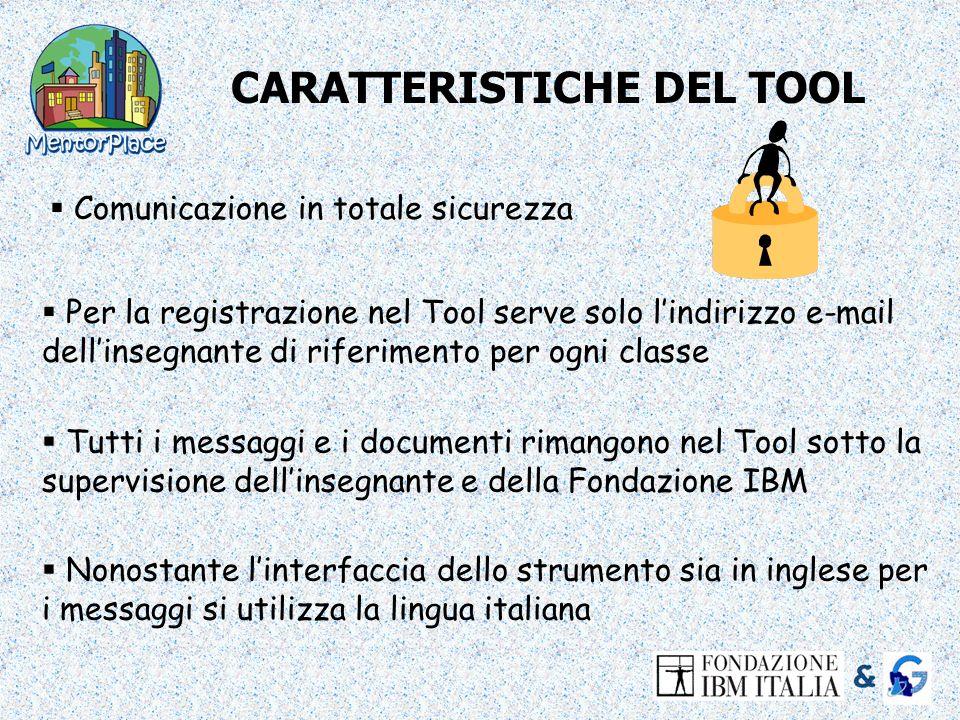 CARATTERISTICHE DEL TOOL Comunicazione in totale sicurezza Tutti i messaggi e i documenti rimangono nel Tool sotto la supervisione dellinsegnante e de