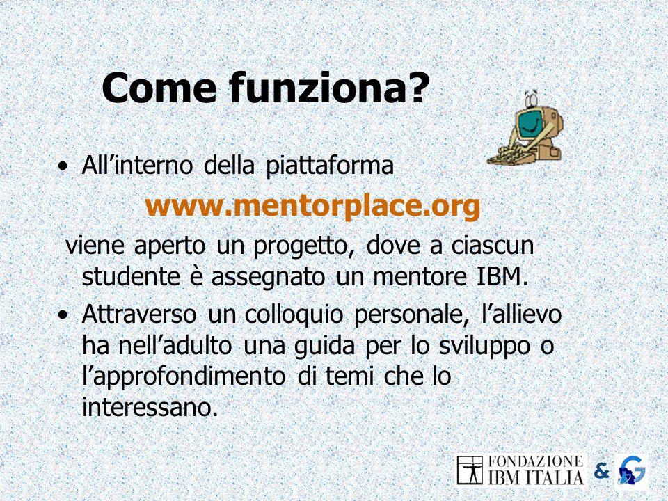 Come funziona? Allinterno della piattaforma www.mentorplace.org viene aperto un progetto, dove a ciascun studente è assegnato un mentore IBM. Attraver