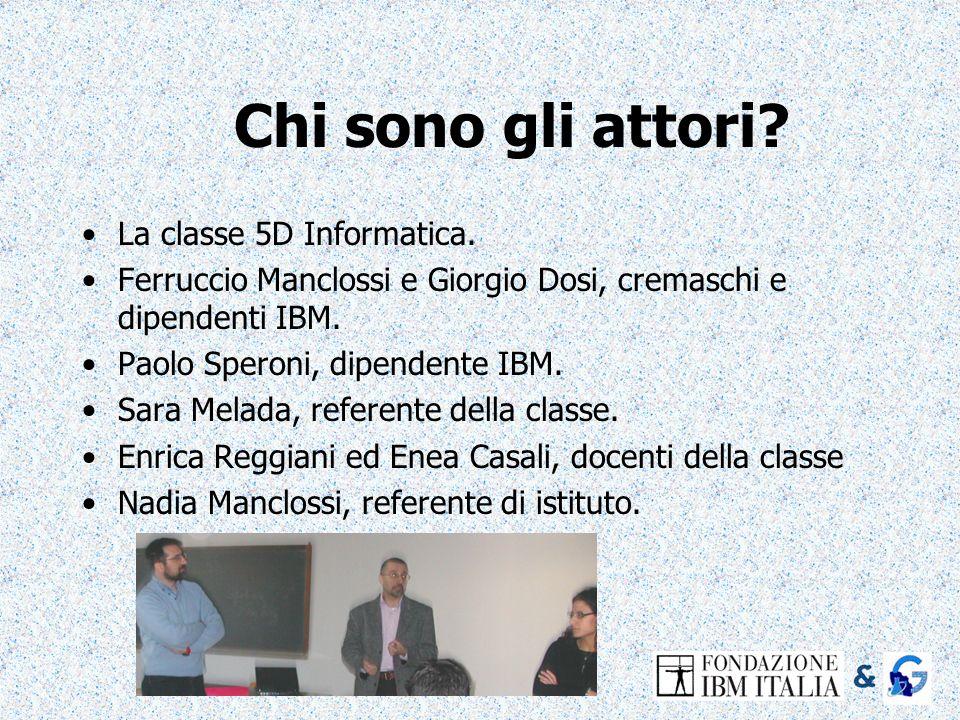 Chi sono gli attori? La classe 5D Informatica. Ferruccio Manclossi e Giorgio Dosi, cremaschi e dipendenti IBM. Paolo Speroni, dipendente IBM. Sara Mel
