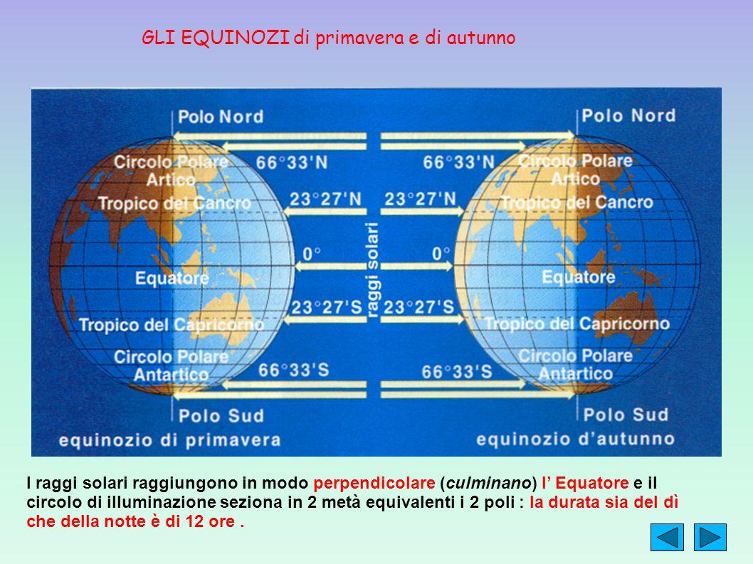 I raggi solari raggiungono in modo perpendicolare (culminano) l Equatore e il circolo di illuminazione seziona in 2 metà equivalenti i 2 poli : la dur