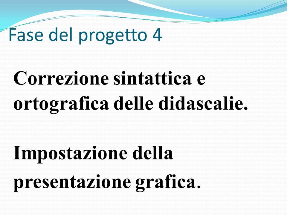 Correzione sintattica e ortografica delle didascalie. Impostazione della presentazione grafica. Fase del progetto 4