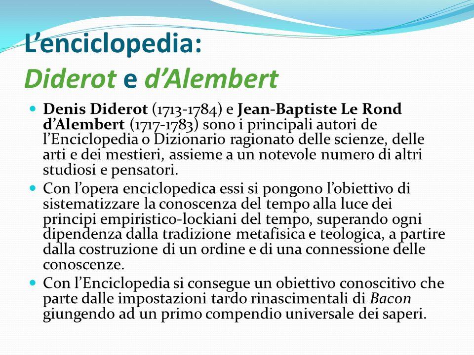 Lenciclopedia: Diderot e dAlembert Denis Diderot (1713-1784) e Jean-Baptiste Le Rond dAlembert (1717-1783) sono i principali autori de lEnciclopedia o