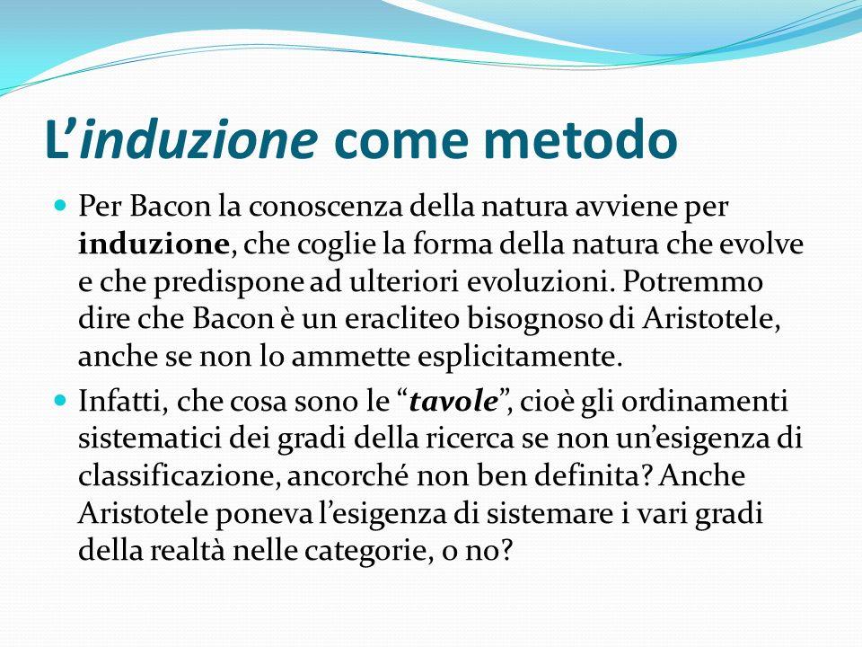 Linduzione come metodo Per Bacon la conoscenza della natura avviene per induzione, che coglie la forma della natura che evolve e che predispone ad ult