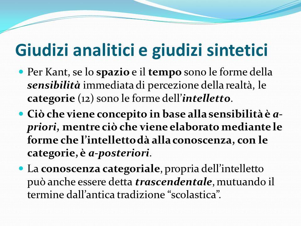 Giudizi analitici e giudizi sintetici Per Kant, se lo spazio e il tempo sono le forme della sensibilità immediata di percezione della realtà, le categ