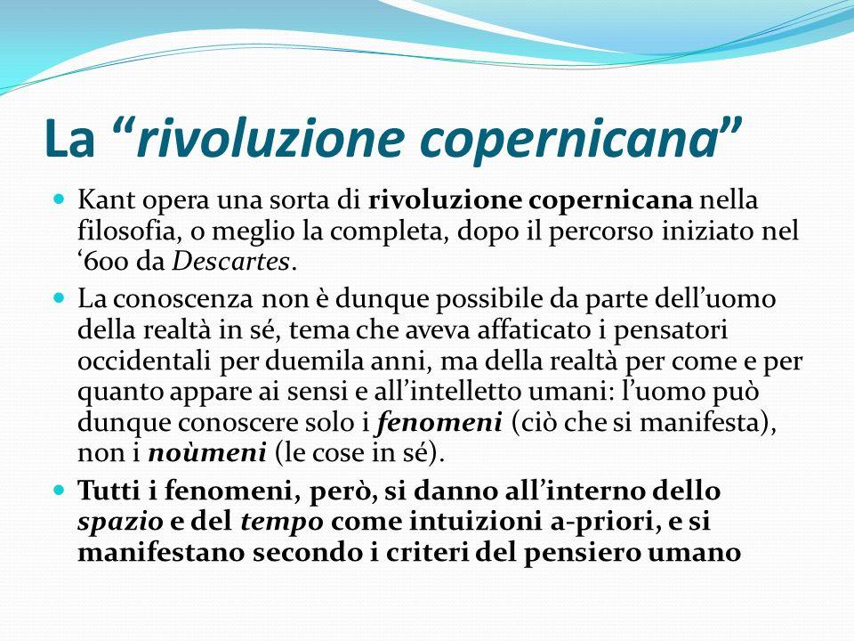 La rivoluzione copernicana Kant opera una sorta di rivoluzione copernicana nella filosofia, o meglio la completa, dopo il percorso iniziato nel 600 da