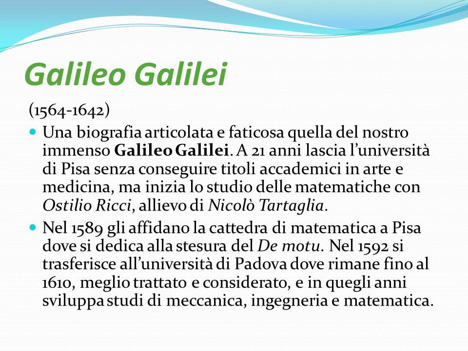 Galileo Galilei (1564-1642) Una biografia articolata e faticosa quella del nostro immenso Galileo Galilei. A 21 anni lascia luniversità di Pisa senza