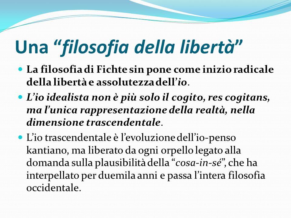 Una filosofia della libertà La filosofia di Fichte sin pone come inizio radicale della libertà e assolutezza dellio. Lio idealista non è più solo il c
