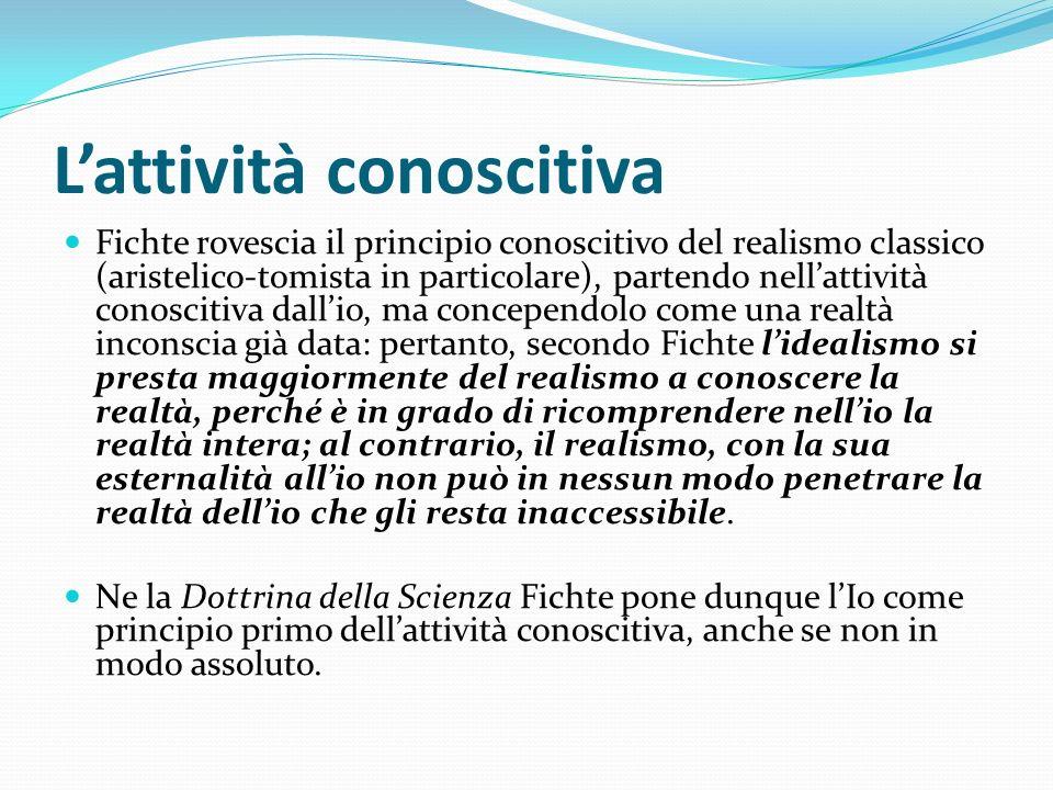 Lattività conoscitiva Fichte rovescia il principio conoscitivo del realismo classico (aristelico-tomista in particolare), partendo nellattività conosc
