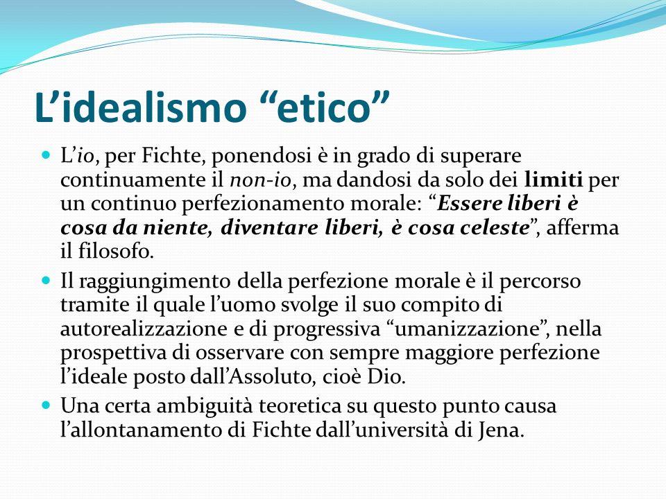 Lidealismo etico Lio, per Fichte, ponendosi è in grado di superare continuamente il non-io, ma dandosi da solo dei limiti per un continuo perfezioname