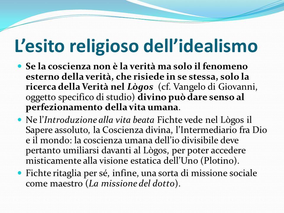 Lesito religioso dellidealismo Se la coscienza non è la verità ma solo il fenomeno esterno della verità, che risiede in se stessa, solo la ricerca del