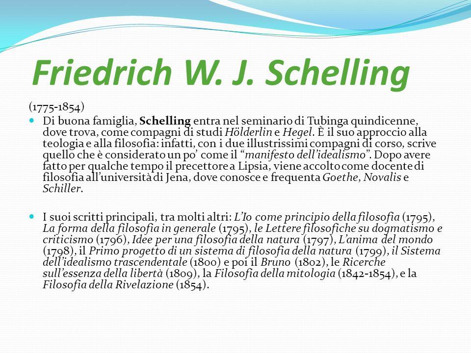 Friedrich W. J. Schelling (1775-1854) Di buona famiglia, Schelling entra nel seminario di Tubinga quindicenne, dove trova, come compagni di studi Höld
