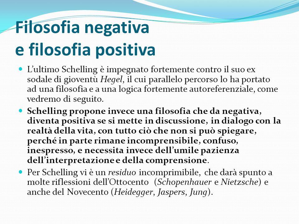 Filosofia negativa e filosofia positiva Lultimo Schelling è impegnato fortemente contro il suo ex sodale di gioventù Hegel, il cui parallelo percorso
