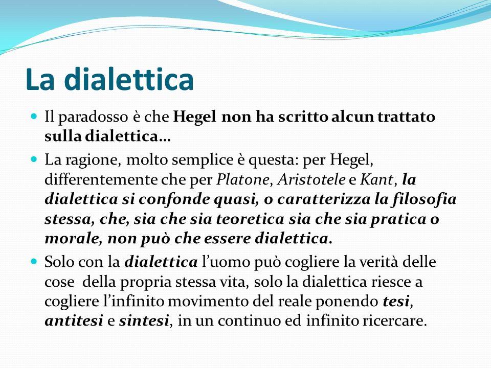La dialettica Il paradosso è che Hegel non ha scritto alcun trattato sulla dialettica… La ragione, molto semplice è questa: per Hegel, differentemente