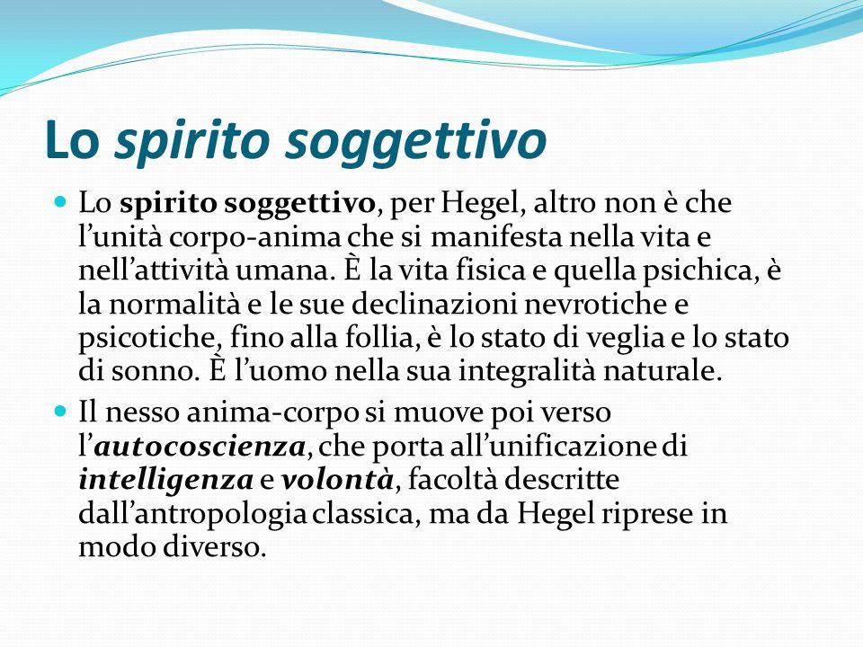 Lo spirito soggettivo Lo spirito soggettivo, per Hegel, altro non è che lunità corpo-anima che si manifesta nella vita e nellattività umana. È la vita