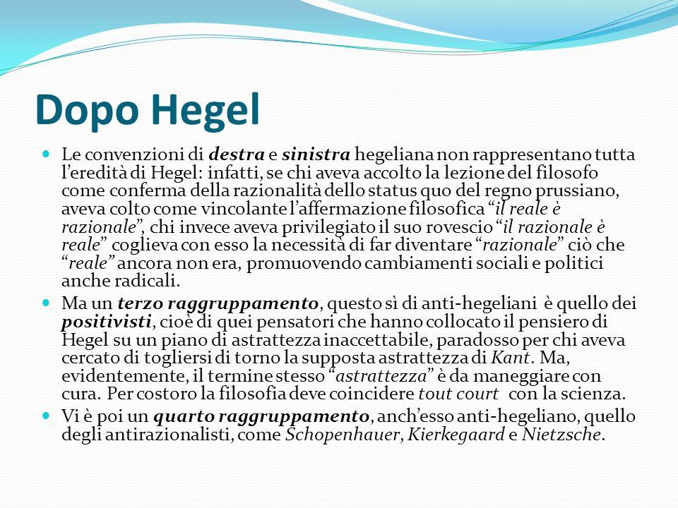 Dopo Hegel Le convenzioni di destra e sinistra hegeliana non rappresentano tutta leredità di Hegel: infatti, se chi aveva accolto la lezione del filos